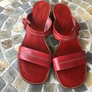 Come Haan Country Red Leather Sandals